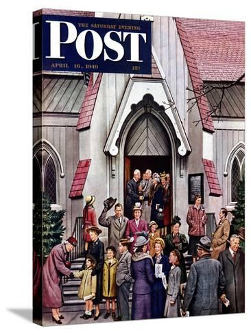 """""""After Church,"""" Saturday Evening Post Cover, April 16, 1949-Stevan Dohanos-Stretched Canvas Print"""