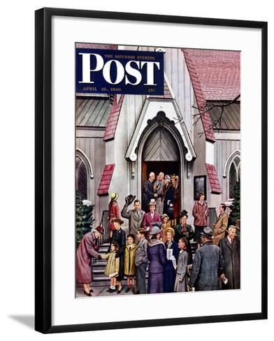 """After Church,"" Saturday Evening Post Cover, April 16, 1949-Stevan Dohanos-Framed Art Print"
