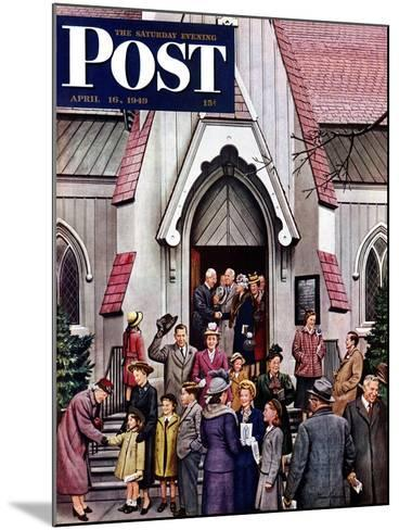 """""""After Church,"""" Saturday Evening Post Cover, April 16, 1949-Stevan Dohanos-Mounted Giclee Print"""
