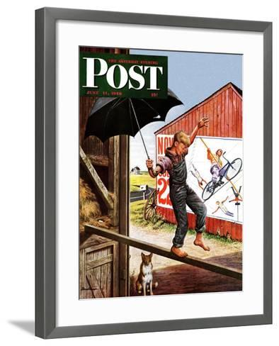 """Walking the Tightrope,"" Saturday Evening Post Cover, June 11, 1949-Stevan Dohanos-Framed Art Print"