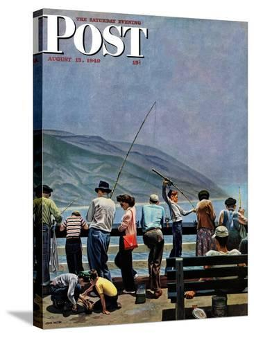 """Pier Fishing,"" Saturday Evening Post Cover, August 13, 1949-John Falter-Stretched Canvas Print"