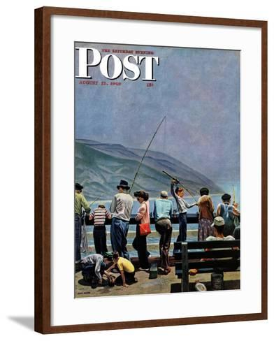 """Pier Fishing,"" Saturday Evening Post Cover, August 13, 1949-John Falter-Framed Art Print"