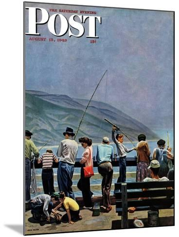 """Pier Fishing,"" Saturday Evening Post Cover, August 13, 1949-John Falter-Mounted Giclee Print"