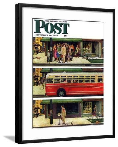 """Missed the Bus,"" Saturday Evening Post Cover, September 10, 1949-Thornton Utz-Framed Art Print"