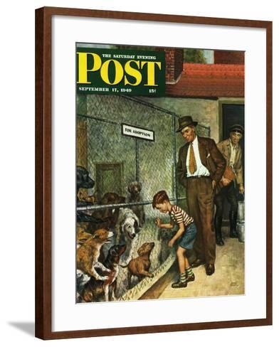 """Dog Pound,"" Saturday Evening Post Cover, September 17, 1949-Amos Sewell-Framed Art Print"