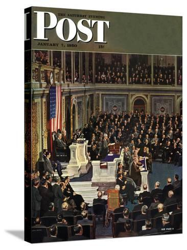 """Joint Session of Congress,"" Saturday Evening Post Cover, January 7, 1950-John Falter-Stretched Canvas Print"