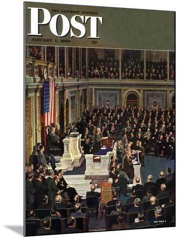 """Joint Session of Congress,"" Saturday Evening Post Cover, January 7, 1950-John Falter-Mounted Giclee Print"