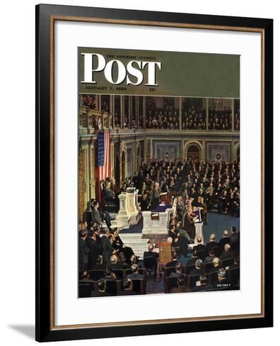 """Joint Session of Congress,"" Saturday Evening Post Cover, January 7, 1950-John Falter-Framed Art Print"