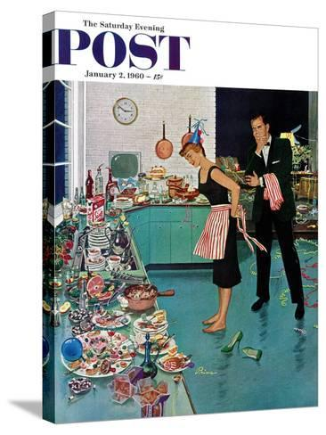 """After Party Clean-up,"" Saturday Evening Post Cover, January 2, 1960-Ben Kimberly Prins-Stretched Canvas Print"