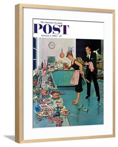 """After Party Clean-up,"" Saturday Evening Post Cover, January 2, 1960-Ben Kimberly Prins-Framed Art Print"