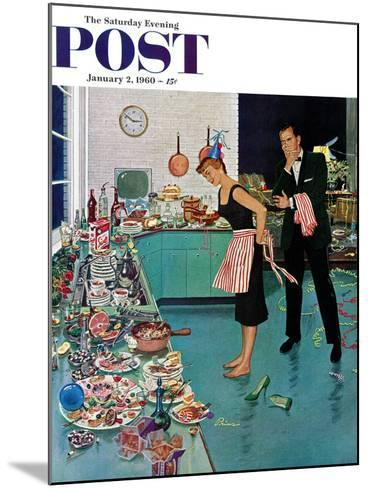"""After Party Clean-up,"" Saturday Evening Post Cover, January 2, 1960-Ben Kimberly Prins-Mounted Giclee Print"