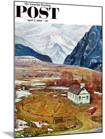 """Recess at Pine Creek,"" Saturday Evening Post Cover, April 2, 1960-John Clymer-Mounted Giclee Print"