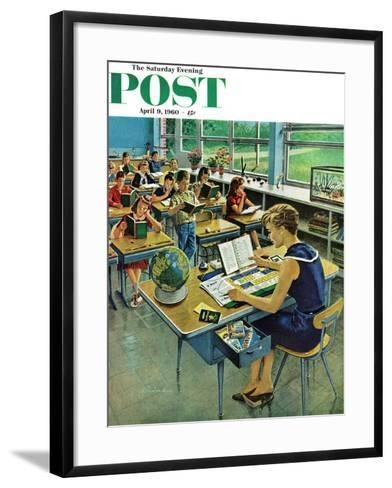"""""""Vacation Plans,"""" Saturday Evening Post Cover, April 9, 1960-Ben Kimberly Prins-Framed Art Print"""