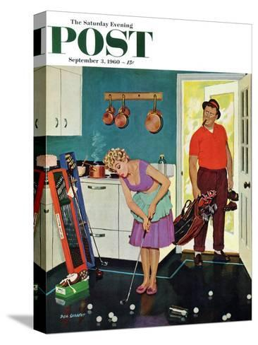 """""""Putting Around in the Kitchen,"""" Saturday Evening Post Cover, September 3, 1960-Richard Sargent-Stretched Canvas Print"""