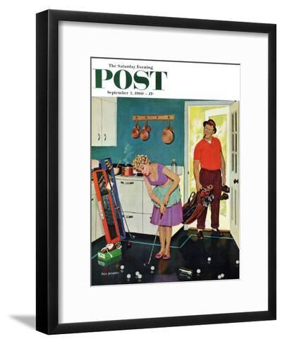 """""""Putting Around in the Kitchen,"""" Saturday Evening Post Cover, September 3, 1960-Richard Sargent-Framed Art Print"""