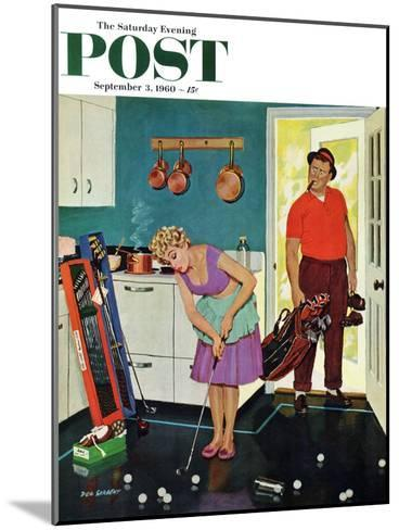 """""""Putting Around in the Kitchen,"""" Saturday Evening Post Cover, September 3, 1960-Richard Sargent-Mounted Giclee Print"""