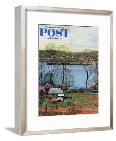 """Ohio River in April,"" Saturday Evening Post Cover, April 15, 1961-John Clymer-Framed Art Print"