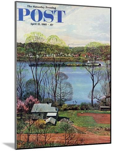 """Ohio River in April,"" Saturday Evening Post Cover, April 15, 1961-John Clymer-Mounted Giclee Print"
