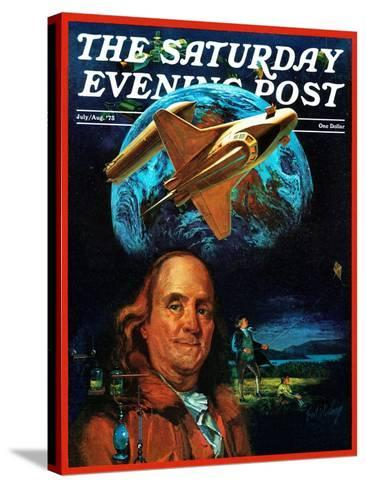"""""""Franklin and the Space Shuttle,"""" Saturday Evening Post Cover, July 1, 1973-B. Winthrop-Stretched Canvas Print"""