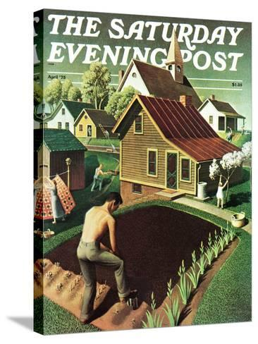 """""""Re print of """"Spring 1942"""","""" Saturday Evening Post Cover, April 18, 1942-Grant Wood-Stretched Canvas Print"""