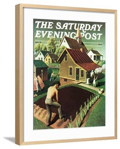 """""""Re print of """"Spring 1942"""","""" Saturday Evening Post Cover, April 18, 1942-Grant Wood-Framed Art Print"""