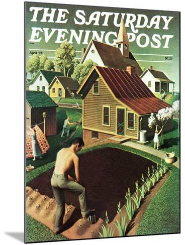 """""""Re print of """"Spring 1942"""","""" Saturday Evening Post Cover, April 18, 1942-Grant Wood-Mounted Giclee Print"""