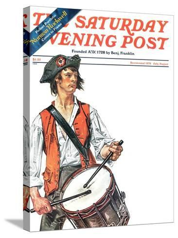 """""""Re-print of """"Colonial Drummer"""","""" Saturday Evening Post Cover, July/Aug 1976-Joseph Christian Leyendecker-Stretched Canvas Print"""