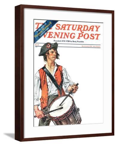 """Re-print of ""Colonial Drummer"","" Saturday Evening Post Cover, July/Aug 1976-Joseph Christian Leyendecker-Framed Art Print"