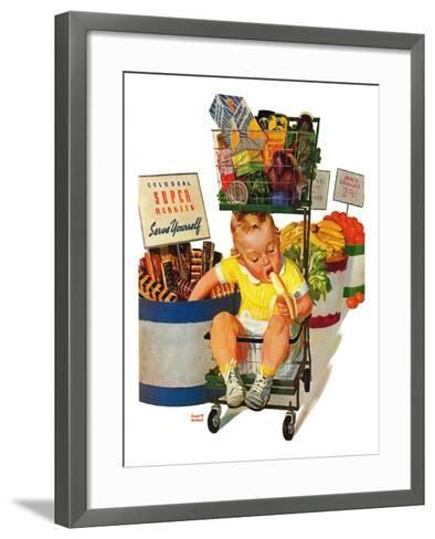 """Lunchtime at the Grocery,"" August 31, 1940-Albert W^ Hampson-Framed Art Print"