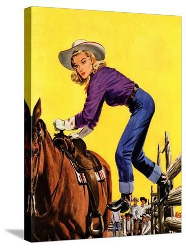 """""""Woman at Dude Rance,"""" June 20, 1942-Fred Ludekens-Stretched Canvas Print"""