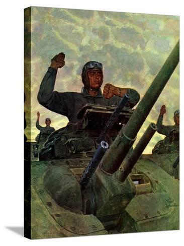 """""""Tank Attack,"""" January 9, 1943-Mead Schaeffer-Stretched Canvas Print"""