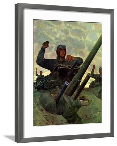 """Tank Attack,"" January 9, 1943-Mead Schaeffer-Framed Art Print"