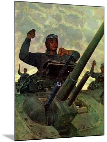 """""""Tank Attack,"""" January 9, 1943-Mead Schaeffer-Mounted Giclee Print"""