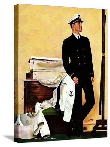 """""""New Naval Officer,"""" July 10, 1943-John Falter-Stretched Canvas Print"""