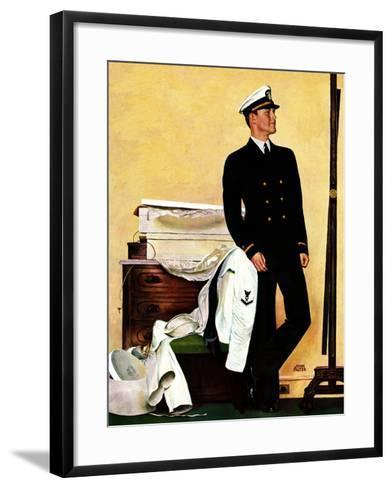 """""""New Naval Officer,"""" July 10, 1943-John Falter-Framed Art Print"""