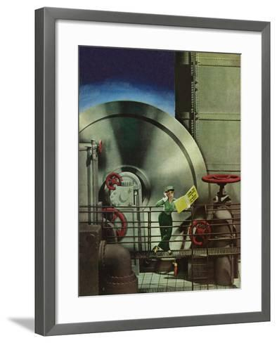 """How to Operate a Power Plant,"" October 2, 1943-Russell Patterson-Framed Art Print"