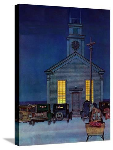 """""""Rural Church at Night,"""" December 30, 1944-Mead Schaeffer-Stretched Canvas Print"""