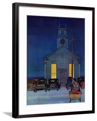 """""""Rural Church at Night,"""" December 30, 1944-Mead Schaeffer-Framed Art Print"""