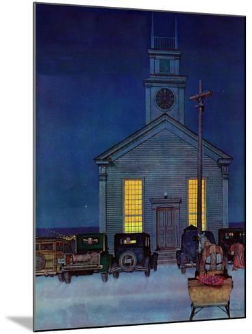 """Rural Church at Night,"" December 30, 1944-Mead Schaeffer-Mounted Giclee Print"