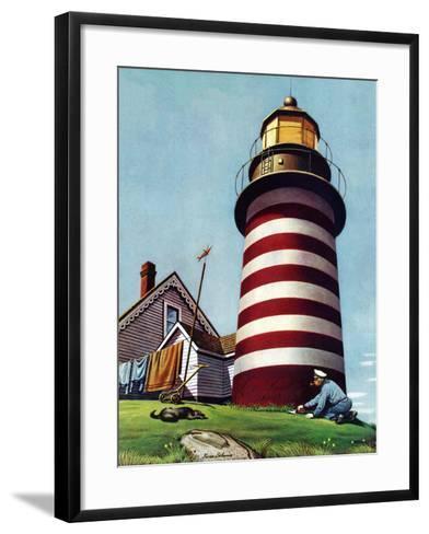 """""""Lighthouse Keeper,"""" September 22, 1945-Stevan Dohanos-Framed Art Print"""