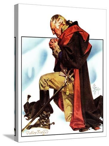"""""""Re-print of """"George Washington at Valley Forge"""","""" November 1, 1975-Joseph Christian Leyendecker-Stretched Canvas Print"""