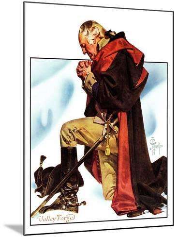 """Re-print of ""George Washington at Valley Forge"","" November 1, 1975-Joseph Christian Leyendecker-Mounted Giclee Print"