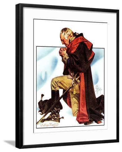 """Re-print of ""George Washington at Valley Forge"","" November 1, 1975-Joseph Christian Leyendecker-Framed Art Print"
