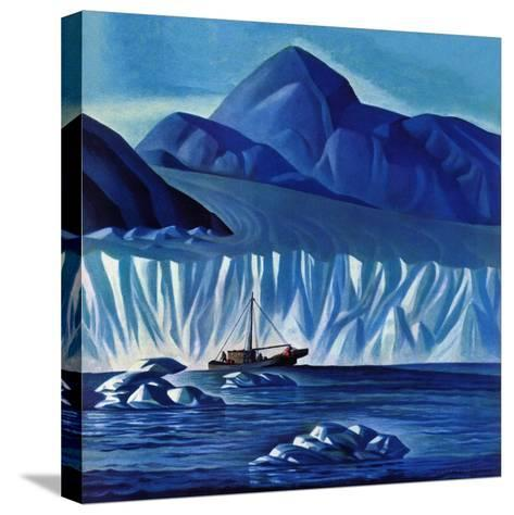 """""""Navigating Through Icebergs,"""" July 19, 1941-Dale Nichols-Stretched Canvas Print"""
