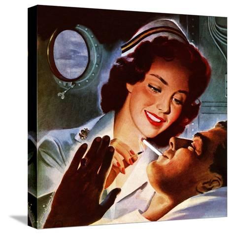 """""""Lighting His Cigarette,"""" October 23, 1943-Jon Whitcomb-Stretched Canvas Print"""