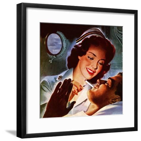 """""""Lighting His Cigarette,"""" October 23, 1943-Jon Whitcomb-Framed Art Print"""