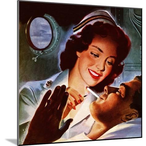 """Lighting His Cigarette,"" October 23, 1943-Jon Whitcomb-Mounted Giclee Print"
