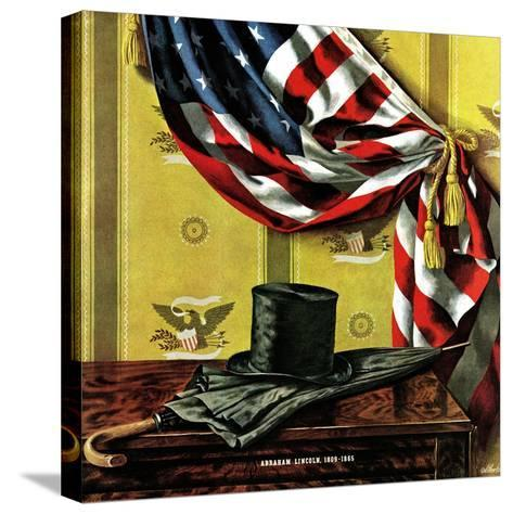 """""""Commemorating Lincoln's Birthday,"""" February 12, 1944-John Atherton-Stretched Canvas Print"""