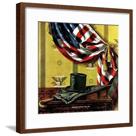 """""""Commemorating Lincoln's Birthday,"""" February 12, 1944-John Atherton-Framed Art Print"""