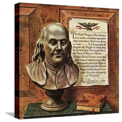 """Benjamin Franklin - bust and quote,"" January 19, 1946-John Atherton-Stretched Canvas Print"